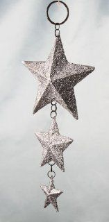 Ready to Hang 3 Graduated Sizes Rusty Tin Stars with Silver Glitter Ornaments   6 Individual Star Ornaments   Decorative Hanging Ornaments