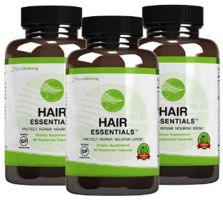Hair Essentials   Natural Herbs and Vitamins Hair Growth Supplement for Women & Men   DHT Blocker   Nutrients to Help Repair and Nourish Thinning Hair   Daily Capsules Fight Hair Loss and Promote New Growth   3 Pack (90 Capsules per Bottle, 270 Total)