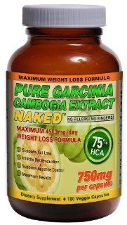 Garcinia Cambogia NAKED 75% HCA   180ct   3000mg/day   45 Day Supply   All Natural Appetite Suppressant and Weight Loss Supplement: Health & Personal Care
