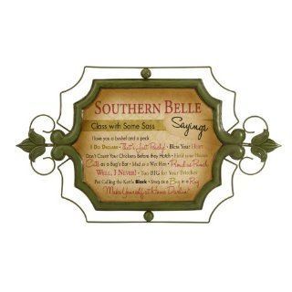 """25"""" Antiqued Green and Pink Cordelia Southern Belle Saying Iron Wall Sign   Plaques"""