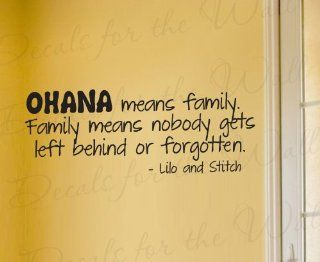 Lilo and Stitch Ohana Family Disney   Girl's or Boy's Room Kids Baby Nursery   Decorative Adhesive Vinyl Wall Decal, Lettering Art Letters Decor, Quote Design Sticker, Saying Decoration   Home Decor Product