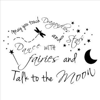May You Touch Dragonflies and Stars Dance with Fairies and Talk to the Moon wall saying vinyl lettering home decor decals stickers   Dragonfly Wall Decals