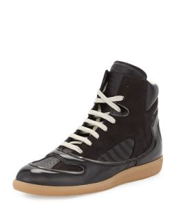 Mens Mixed Leather High Top Sneaker   Maison Martin Margiela   Black (41.5/8.