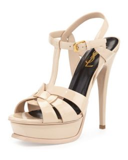 Tribute Patent Platform Sandal, Nude   Saint Laurent   Nude (41.0B/11.0B)