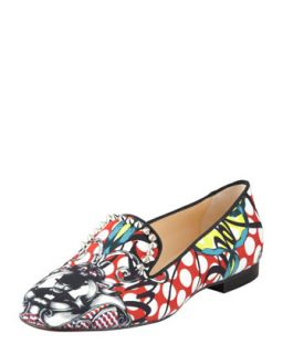 Christian Louboutin Sakouette Face Polka Dot Fabric Loafer