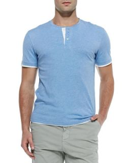 Mens Double Layer Short Sleeve Henley, H. Blueberry   Vince   H.blueberry (X