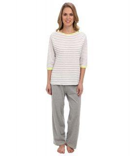 Kenneth Cole Reaction Multi Stripe 3/4 Sleep Top/Crop Pant Set Womens Pajama Sets (Blue)