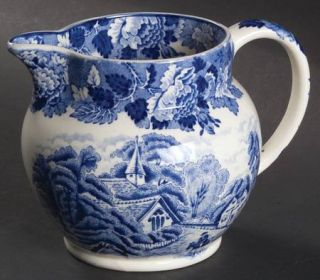 Enoch Wood & Sons English Scenery Blue (Blue Backs,Smooth) 16 Oz Pitcher, Fine C