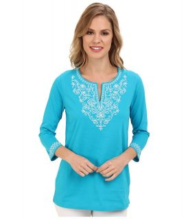 Jones New York Cap Sleeve Slit Neck Tunic Womens Long Sleeve Pullover (Blue)