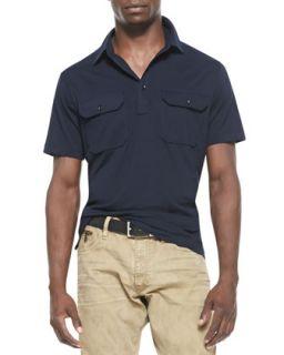 Mens Cotton Military Polo, Navy   Ralph Lauren Black Label   Navy (XL)