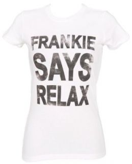 Ladies White Frankie Says Relax T Shirt Novelty T Shirts