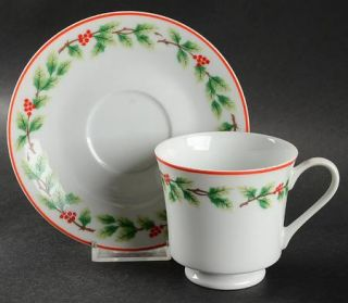 Lillian Vernon Holiday Garland Footed Cup & Saucer Set, Fine China Dinnerware