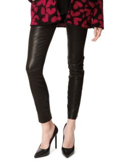 Womens Lambskin Leather Leggings   Saint Laurent   Noir (34/2)