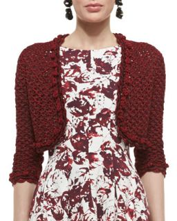 Womens Embroidered Knit Bolero Jacket   Oscar de la Renta   Crimson (X SMALL)