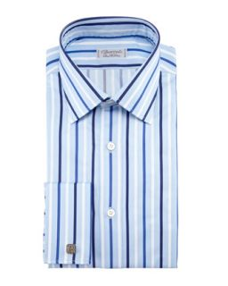 Mens Striped French Cuff Dress Shirt, Blue   Charvet   Blue (44.5/17.5L)