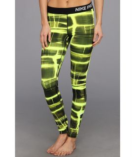 Nike Pro Printed Tight Womens Casual Pants (Yellow)