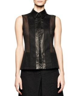 Womens Sleeveless Embroidered Mesh Top with Leather Trim   Reed Krakoff