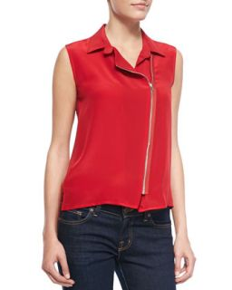 Womens First & Ten Silk Moto Top, Red   Bailey 44   Red (LARGE)