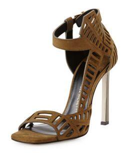 Mahima Suede Cutout Sandal, Khaki   Daniele Michetti   Khaki (38.0B/8.0B)