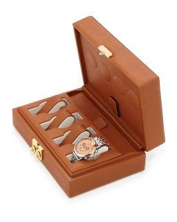 Mens The Timekeeper Leather Watch Case, Brown   Ghurka   Brown