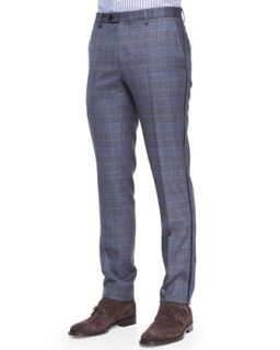 Mens Grosgrain Trim Check Pants   Etro   Grey multi (L/52)
