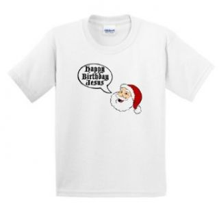 Santa Says Happy Birthday Jesus Youth T Shirt: Clothing