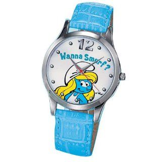 Avon Smurf Watch Aqua Blue with a smurfette says wanna smurf BRAND NEW WATCH In Box: Watches