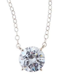 Round Cubic Zirconia Pendant Necklace, 2.5 TCW   Fantasia by DeSerio   Clear