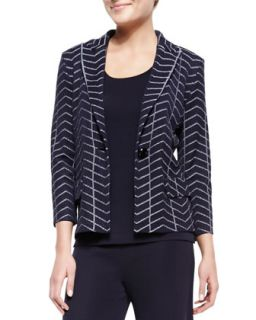 Spider Web One Button Jacket, Womens   Misook   Navy/White (0X (16/18))