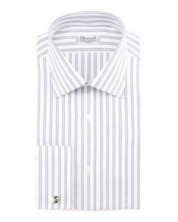 Mens Striped French Cuff Dress Shirt   Charvet   Wht/Grey (40.5/16L)