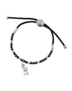 Mens Batu Naga Silver Cord Bracelet, Black   John Hardy   Silver