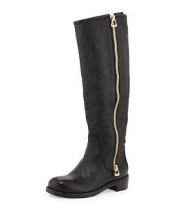 Doreen Flat Zip Knee Boot   Jimmy Choo   Black (40.0B/10.0B)