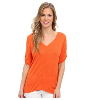 Calvin Klein S/S V Neck Sweater w/ Hardware Womens Short Sleeve Pullover (Orange)