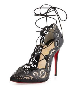 Impera Lace Up Laser Cut Red Sole Pump, Black   Christian Louboutin   Black (38.