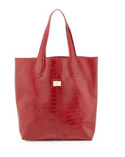 Charlene Croc Embossed Tote Bag, Red   Christian Lacroix
