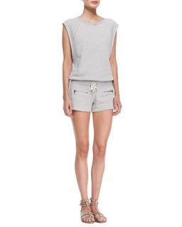 Womens Cap Sleeve Drawstring Sweatshirt Jumpsuit   Pam & Gela   Heather grey