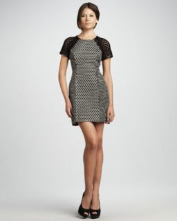 Womens Tweed Panel Dress   Tracy Reese   Black/Platinum (2)