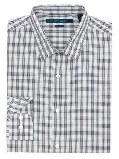 Perry Ellis Mens Slim Fit Double Check Shirt
