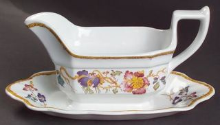 Wedgwood Devon Rose Gravy Boat with Attached Underplate, Fine China Dinnerware