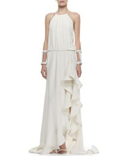 Womens Mickael Ruffled Silk Gown, Ivory   Alexis   Ivory (X SMALL)