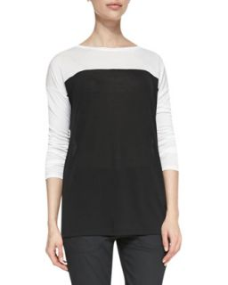 Womens Long Sleeve Tee with Silk Piping, Black/Bone   Vince   Bone/Black