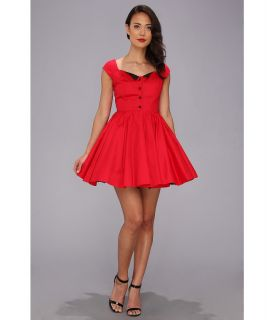 Unique Vintage Derby Girl Fit N Flare Dress Womens Dress (Red)
