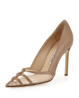 Gotria Metallic Point Toe Pump, Nude   Manolo Blahnik   Nude (37.0B/7.0B)