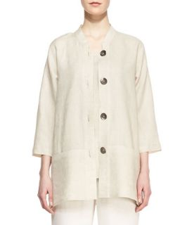 Tissue Linen Shirt Jacket, Womens   Caroline Rose   Natural (1X (16/18))