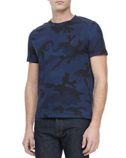 Mens Camo Print Crewneck Tee, Blue/Black   Valentino   Blue/Black (X LARGE)