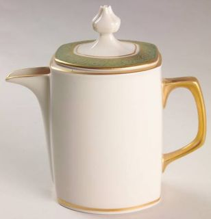 Franciscan Antique Green Creamer & Lid, Fine China Dinnerware   Green Embossed B