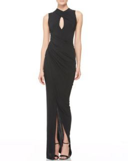 Womens Draped Keyhole Evening Dress   Donna Karan   Black (SMALL)