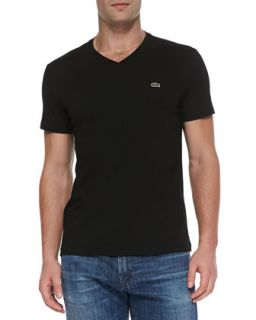 Mens V Neck Tee, Black   Lacoste   Black (X LARGE/7)