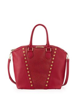 Rosette Stud V Trim Tote Bag, Berry   Betsey Johnson
