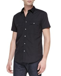 Mens Milhouse Exclusive Short Sleeve Shirt, Black   Theory   Black (LARGE)